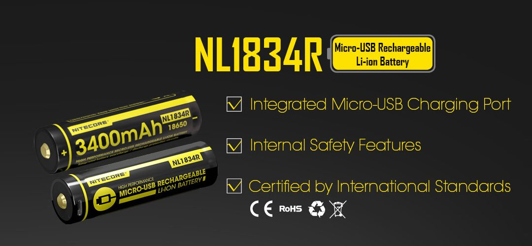 NITECORE NL1834R USB rechargeable 18650 li-ion battery