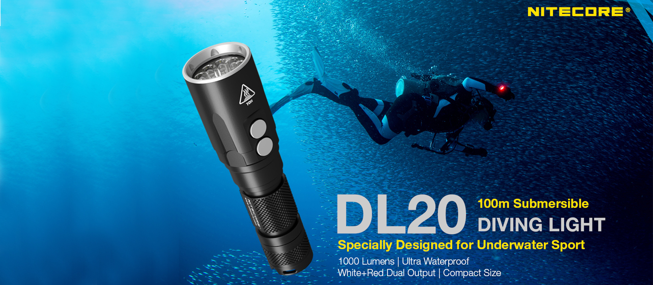 NITECORE DL20 1000 Lumen 100M Diving Flashlight