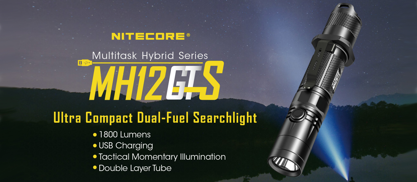 NITECORE MH12GTS 1800 lumen rechargeable tactical flashlight