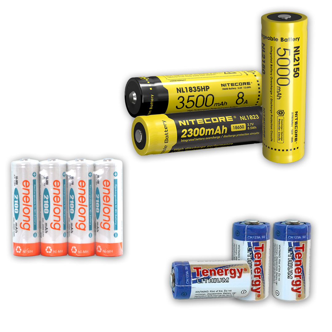 Common LED flashlight battery options - li-ion, ni-Mh, cd, non-rechargeable, rechargeable