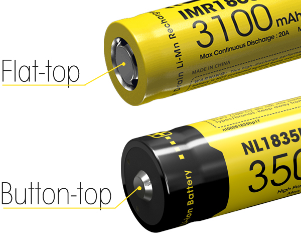What is the difference between flat top and button top li ion batteries